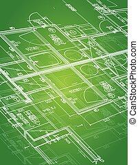 blueprint illustration design over a green background