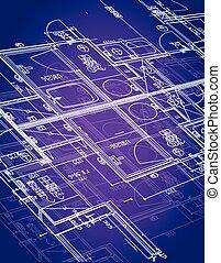 blueprint illustration design over a purple background