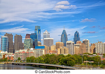 Philadelphia Skyline - Skyline of Philadelphia downtown,...