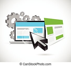 seo web responsive site illustration design over a white...