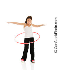 Happy girl with hula hoop - Happy little girl with hula hoop
