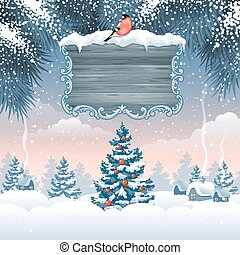 Christmas greeting card with winter landscape and wooden...