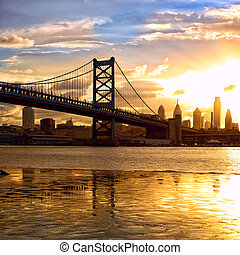 Sunset over Philadelphia - Philadelphia skyline and Ben...