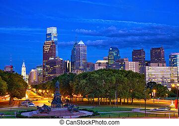 Philadelphia at dusk - Philadelphia skyline at dusk,...