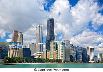 Chicago urban skyline - Chicago skyline with urban...