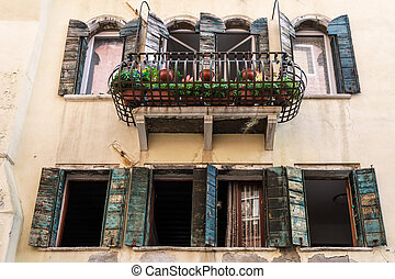 Shuttered windows in Venice