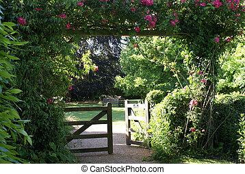 portão, entrada, antigas, inglês, jardim