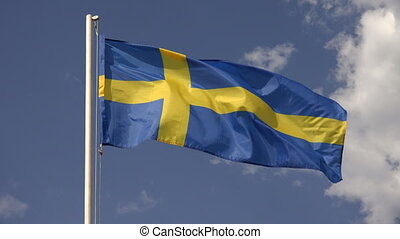 Flag Of Sweden. 4K. - Flag Of Sweden on the background of...