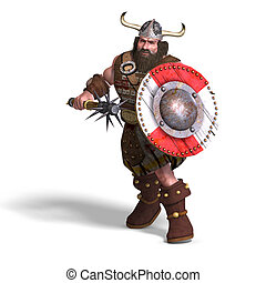 fantasy dwarf with spike club and shield - 3D rendering of a...
