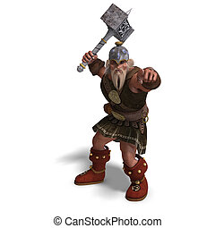 mighty fantasy dwarf with a hammer - 3D rendering of a...