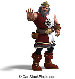 king of the fantasy dwarves - 3D rendering of the king of...