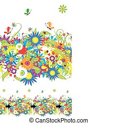 Summer day Floral seamless background for your design