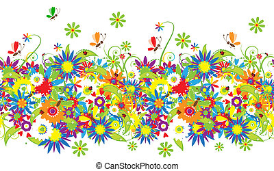 floral, Bouquet, Été, Illustration