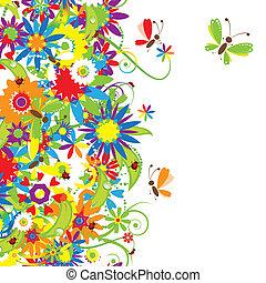 花, 花束, 夏, イラスト