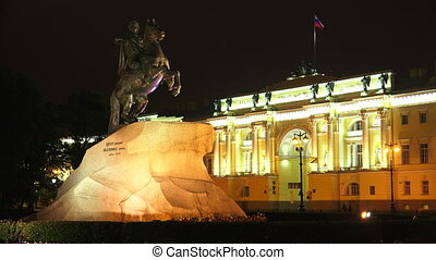 Monument to Peter I on the Senate square in St. Petersburg. Bronze Horseman. Night.4K.