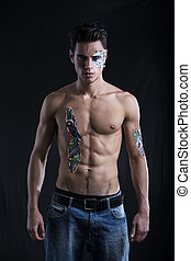 Close up Attractive Bare Muscled Man with Robotic Skin Art...