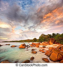Anse Lazio beach - Granite rocks at Anse Lazio beach at...