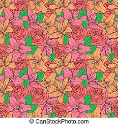 Beautiful seamless background with pink lily and roses ....
