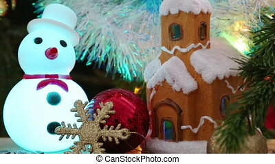 Christmas - house, snowflakes and snowman - Christmas...