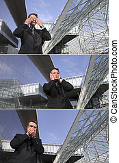 business man see no evil, hear no evil, speak no evil, urban...