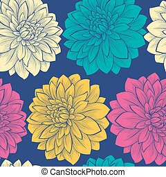 Beautiful seamless background with flowers. Hand-drawn...