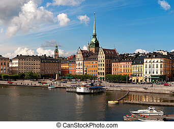 Waterfront. Old Town Stockholm - View over Old Town in...
