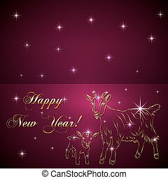 Vector sketch of goat and baby, symbol New Year on red...