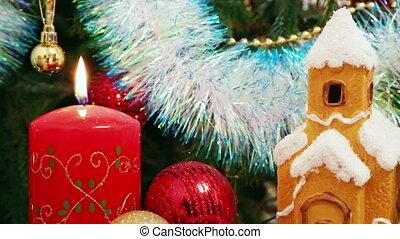 Christmas - candle, house, snowflakes and balls - Christmas...