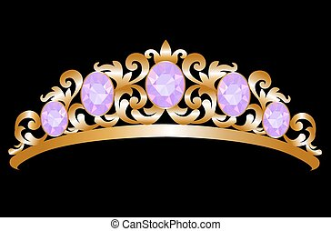 Diadem - Gold diadem with amethyst on black background