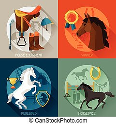 Backgrounds with horse equipment in flat style