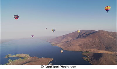 LS Hot Air Balloons Over Temecula - LS of hot air balloons...
