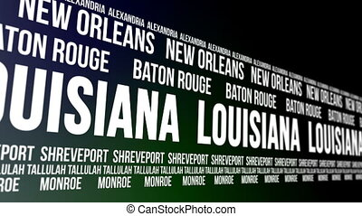 Louisiana State Major Cities Banner - Animated scrolling...