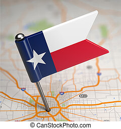 Texas Small Flag on a Map Background - Small Flag of Texas...