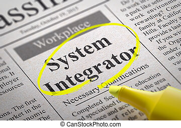 System Integrator Vacancy in Newspaper. Job Search Concept.