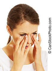 Woman with sinuses pain - Young woman with sinuses pain