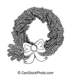 Christmas wreath - Christmas card with wreath and bow...