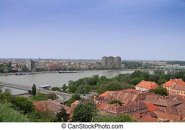 The roofs of the old town Petrovaradin - The view over the...