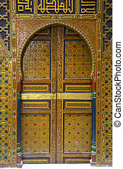 Entrance on the building in Fez, Morocco