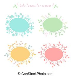 Hand-drawn frames with all seasons - Vector hand-drawn...