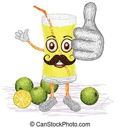 calamansi lime juice mustache - unique style illustration of...