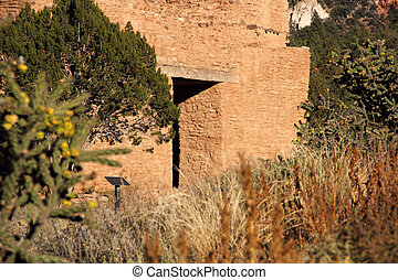 Old Spanish Mission in Jemez Historic Site, New Mexico