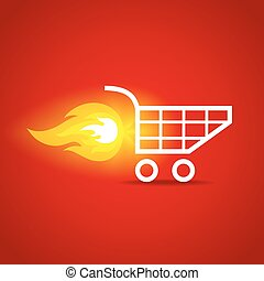 shopping cart - illustration of a shopping cart with flame