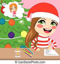 Girl Writing Christmas Letter