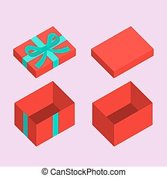 Christmas Box - Red open box for gifts Christmas and flat...