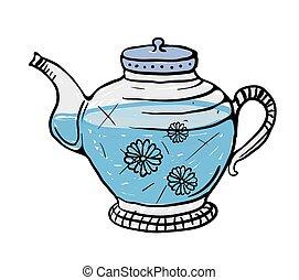 Teapot sketch, vector illustration