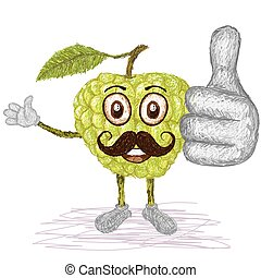 custard apple mustache - unique style illustration of funny,...