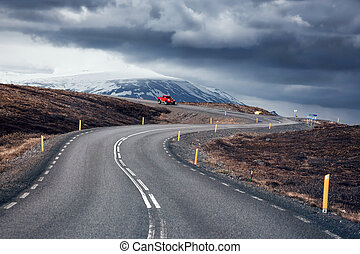 Winding mountain road, Iceland - Winding mountain road next...
