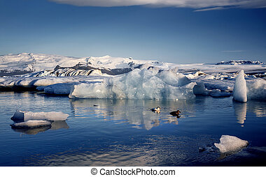 View of the glacier lagoon, Jokulsarlon, Iceland at sunset...