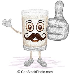 glass of milk mustache - unique style illustration of funny,...