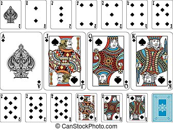 Poker size Spade playing cards plus reverse - Cards from the...